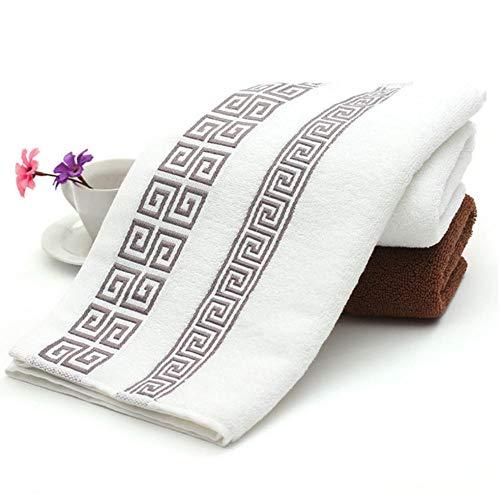Katoenen handdoek geborduurde handdoeken Bamboe strandhanddoeken voor volwassenen Sneldrogend Zachte gezichtshanddoeken Absorberend 35x75cm-wit