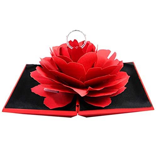 Deer Platz Caja para Anillos con Flor Rosa, Anillo Compromiso Flor Rosa Caja, para Propuesta de Matrimonio, Compromiso Boda el día de San Valentín Caja Regalo