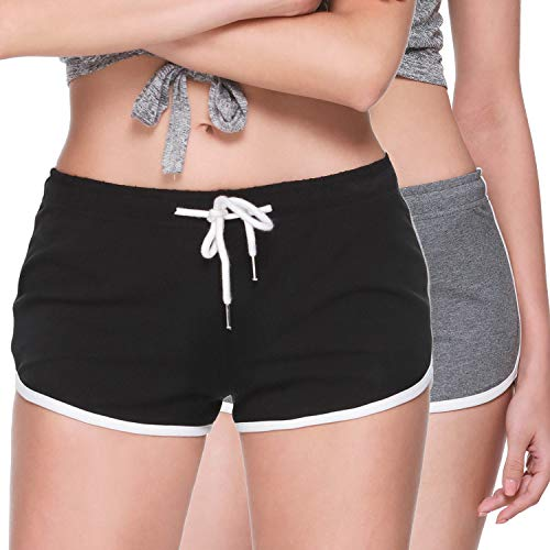 Osne4u Athletic Shorts for Women Running Gym Yoga Sports Shorts Pants Workout Lounge Booty Shorts Elastic Waist with Drawstring 2 Pack