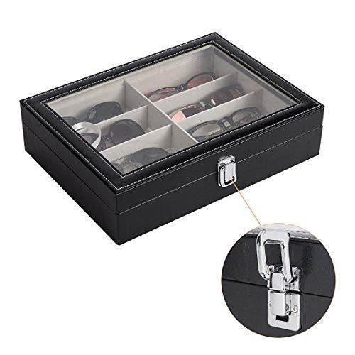 MUY Uhrenaufbewahrungsbox mit Fenster Kunstleder Vitrine Aufbewahrungs-Organizer Collector Slot Oster-Aufbewahrungsbox