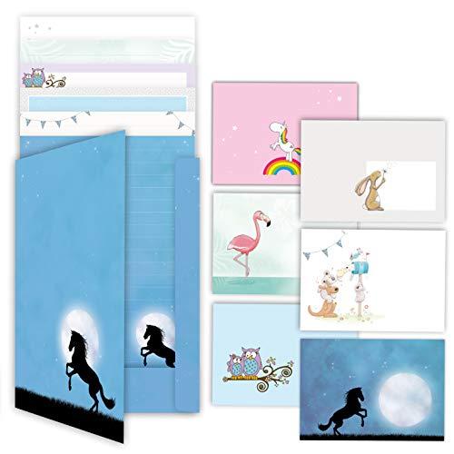 Briefpapier Set von emufarm 6 x 10 Blatt DIN A4 inklusive 6 x 5 dazu passenden Umschlägen sowie einer passenden Mappe/Briefpapier für Kinder mit Linien