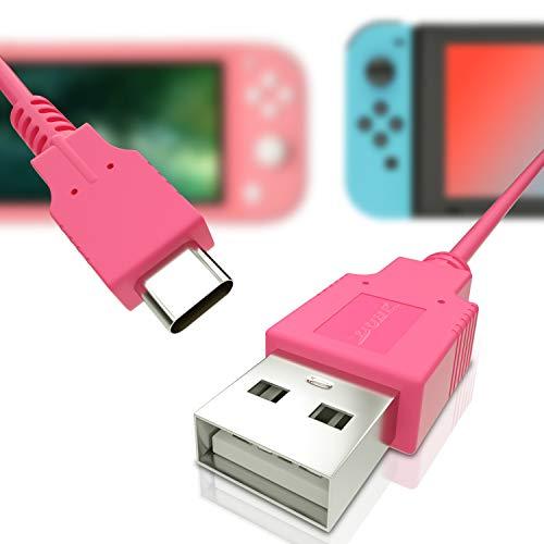 USB C Ladegerät für Nintendo Switch, Schnellladekabel für Nintendo Switch, MacBook, Pixel C, LG Nexus 5X G5, Nexus 6P/P9 Plus, One Plus 2, Sony XZ und mehr - Pink (1,5m)