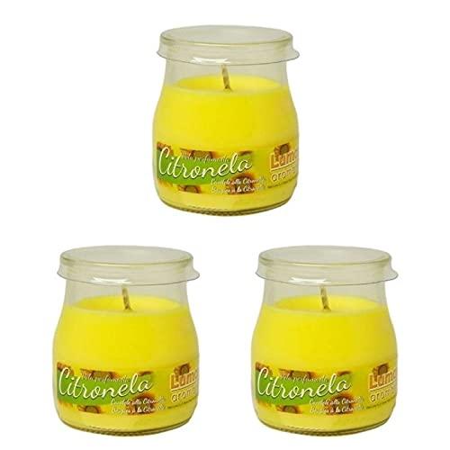3X Velas Citronela Perfumada Vaso Yogur Cristal Olor Aroma Frasco Vela Mosquitos