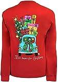 Girlie Girls I'll Be Home for Christmas Preppy Long Sleeve T-Shirt (Large) Red