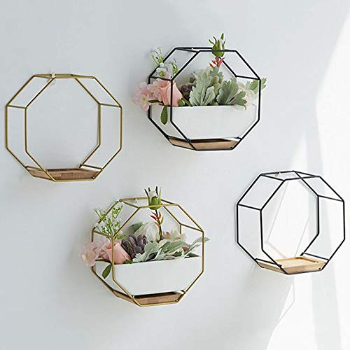GETSO Nordic Moderne Eisen Keramik-Wand-Blumen-Topf Kurz Wohnzimmer Sukkulente Pflanzer Wand-Vase Home Decoration Bonsai: Schwarz
