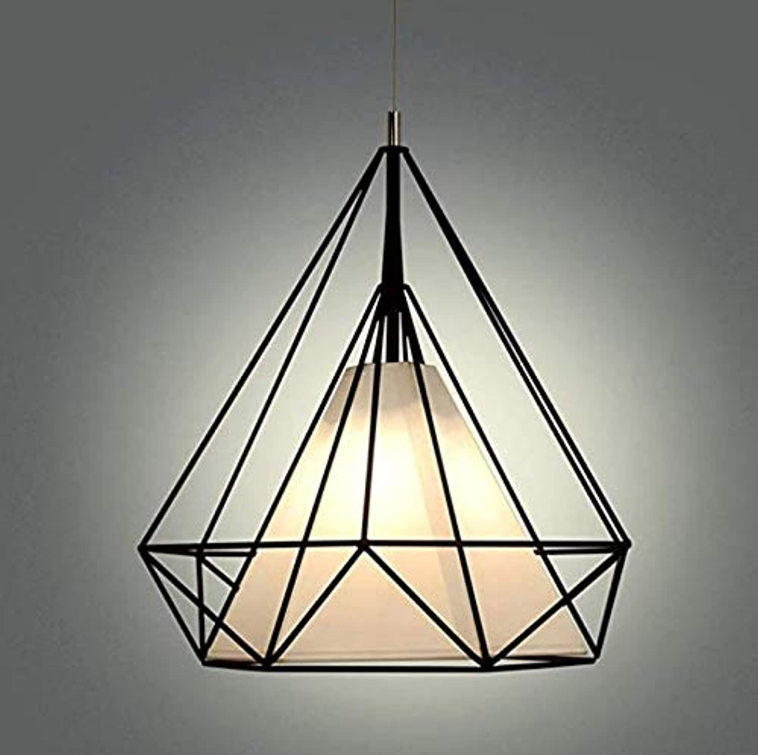 E27 Industrial Diamond Style Chandelier, Creative Retro Bird Cage Pendant Lamp Fixture, Metal Pendant Lamp mit Painted Finish for Kitchen