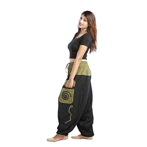 Simandra Haremshose Pumphose Aladinhose Pluderhose Yoga Goa Sarouel Baggy Aladin Freizeithose Damen (Schwarz-grün, S/M)