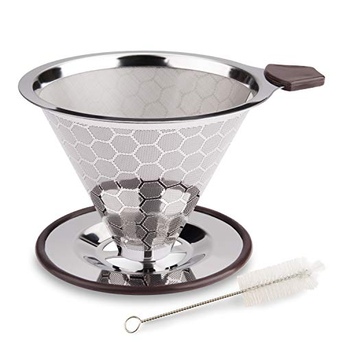 FOXAS Pour Over Coffee Filter, Reusable Coffee Dripper, Stainless Steel Drip Coffee Filters, Paperless Permanent Coffee Strainer, Metal Cone Coffee Mesh Filters for 1-4 Cup with Cleaning Brush