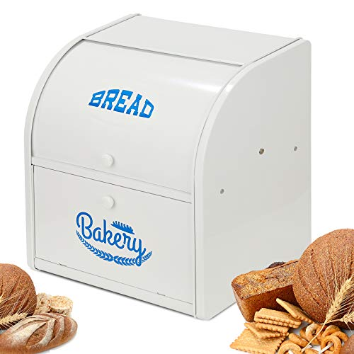 Olebes Bread Box, Metal Bread Box For Kitchen Countertop, Bread Storage Container Holds 2 Loaves Of Bread, High Capacity Breadbox, Bread Holder Suit Farmhouse Kitchen Decor For Counter (White)