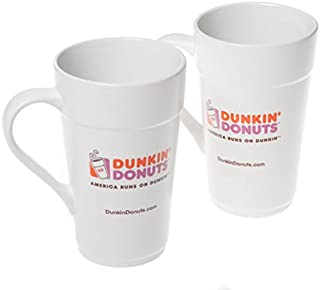 2 Pack of Dunkin Donuts 16 oz White Ceramic Coffee Mug 2013 Classic Replica
