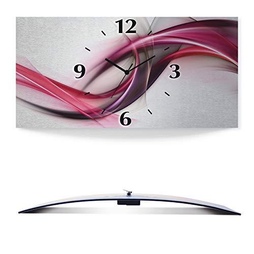 Artland Wanduhr ohne Tickgeräusche 3D Alu Quarz Uhr Silber metallic lautlos 50x25 cm Elegant abstrakt Design für Deine genialen Ideen S8UL