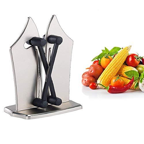 Nifogo Cuchillos de cocina manuales con afiladores de cuchillos de estructura metálica completa Plata
