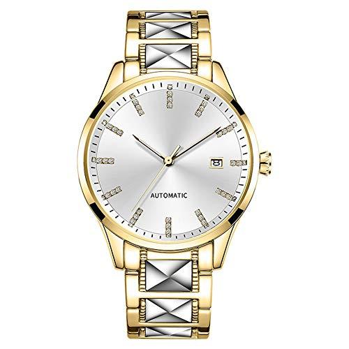 Heren Automatisch Mechanische Horloges, Man Fashion Glass Strass Dial Clock 3ATM Waterproof Business Casual Horloge Met Stalen Band