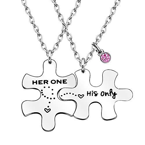 Paar-Liebhaber-Halsketten mit Anhänger, Geschenk für Ehemann, Ehefrau, Freund, Freundin, Ihn, 2 Stück