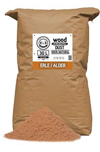 Grillgold Räuchermehl Wood Smoking Dust. Zum räuchen und kalträuchern von Fisch, Fleisch und Gemüse auch für BBQ und Grill geeignet. In Papier-Sack befüllt mit 30 Liter Erle