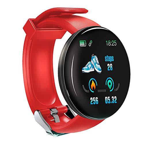 KawKaw DX Smartwatch für Damen Herren und Kinder mit Schlaftracker Kalorienzähler Schrittzähler Pulsuhr Health Watch Activity Tracker mit Touchfunktion Fitness Armband Uhr für iOS & Android (Rot)