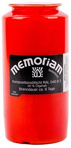Memoriam Kompo Öllicht Nr. 73 - rot - 6 Tage Brenndauer - 20 Stück
