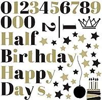 ハーフバースデー シール式ウォールステッカー 12 誕生日 ウォールステッカー 飾り 90×90cm シール式