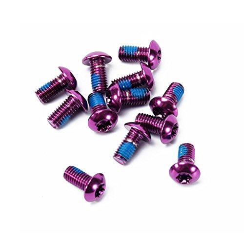 Ndier - Tornillos para bicicleta (12 unidades, aleación de aluminio, M5 x 10 mm), color morado