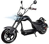 eFlux Chopper One Elektroroller E-Scooter - Straßenzulassung - 45 km/h - 2000 Watt Motor (Schwarz Matt)