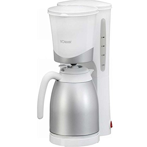 Kaffeemaschine (Kaffeeautomat, 870 Watt, 10 Tassen Thermokanne, Nachtropfsicherung, Herausnehmbarer Filtereinsatz, Silber-Weiss) NEU + OVP