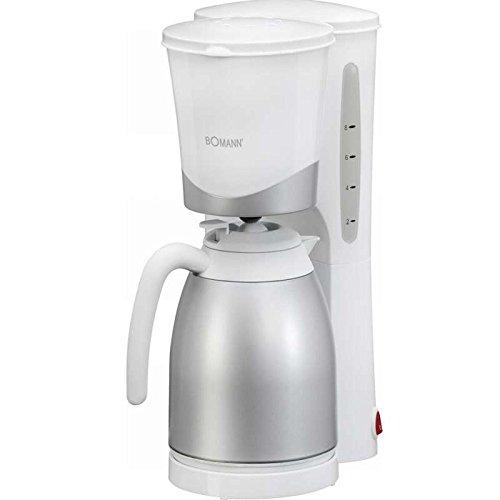 Kaffeemaschine mit 870 Watt (Kaffeeautomat, für ca. 10 Tassen Thermokanne, Nachtropfsicherung, Herausnehmbarer Filtereinsatz, Silber-Weiss)