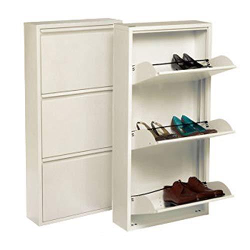 Home Gadgets Support à Chaussures, Métal, Creme, 106 cm, 3 tiroirs, Armoire à Chaussures, Range Chaussures