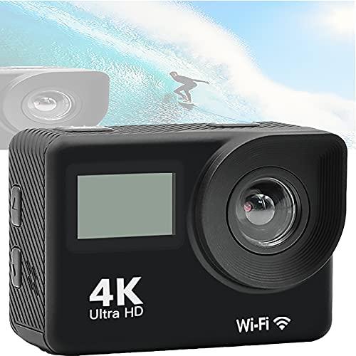 Action CAM 4K WiFi 20MP Cámara subacuática 30M Impermeable EIS Panel IPS de Gran Angular de 170 ° (Control Remoto de 2.5HZ y Otros Accesorios)