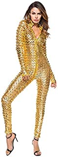 Jumpsuit Women Sexy Metallic Long Sleeve Faux Leather Jumpsuit Overalls Zipper To Crotch Bodysuit Jumpsuits Rompers (Color : Gold, Size : XXX-Large)