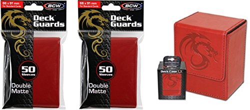 COMBO- BCW Red Deluxe Leatherette Deck Case plus 2 50ct Pks (100) of RED Double Matte Deck Guard Sleeves for Collectable Gaming Cards like Magic The Gathering MTG, Pokemon, YU-GI-OH!, & More. Embossed Dragon Graphic, BOX.