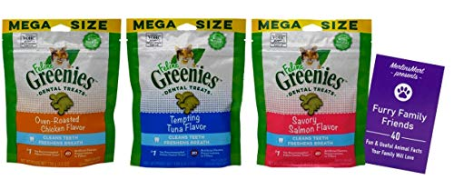 Feline Greenies Dental Crunchy Treats for Cats 3 Flavor Mega Variety Pack   (1 Each): Oven Roasted Chicken, Tempting Tuna, Savory Salmon (4.6 Ounces)   Plus Fun Animal Facts Booklet Bundle
