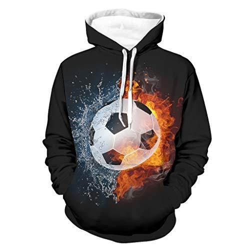 Shinelly Fantasy - Sudadera con capucha para hombre con diseño de fútbol y agua y fuego, manga larga, con bolsillos blanco XL