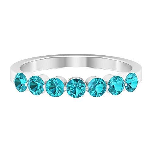 3/4 CT creado en laboratorio verde paraiba turmalina anillo, anillo de banda apilable, anillos de promesa para ella, 14K Oro blanco, Size:EU 44