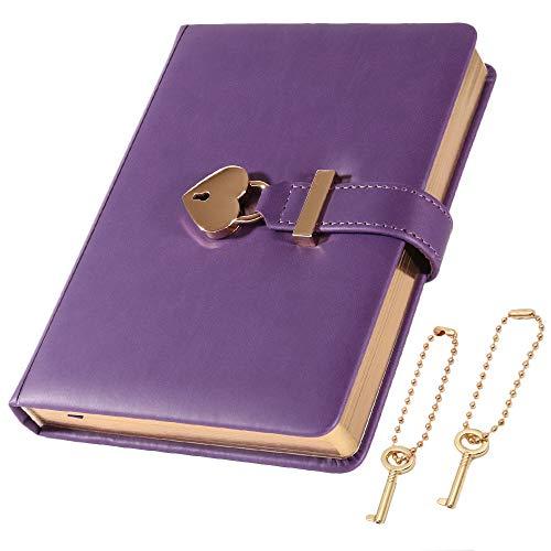 cofumi 日記帳 鍵付き 手帳 B6 横罫8mm 予備鍵 PUレザーカバー おしゃれ ギフト 女の子 (パープル)