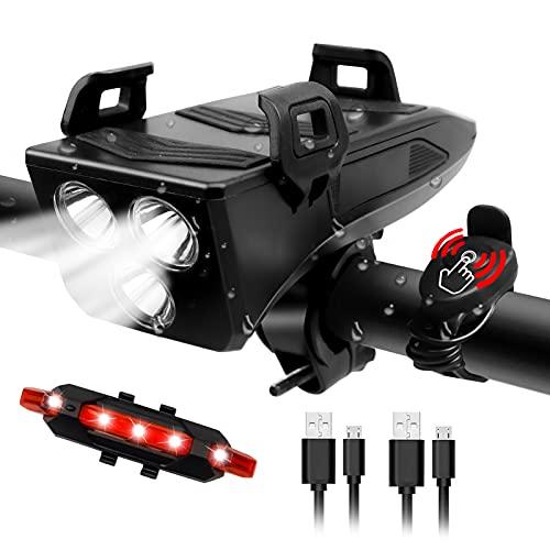 RaMokey Luz Bicicleta, Luces Bicicleta Delantera y Trasera Recargable USB, Luz Bici de Montaña, 4000 mAh luz Bicicleta Delantera, Linterna Bicicleta con Soporte para Teléfono (Negro)
