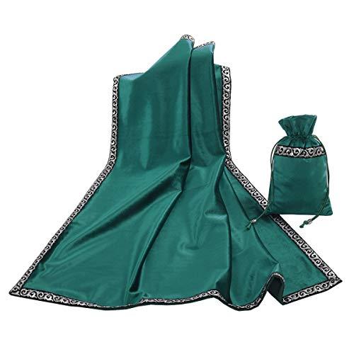 BLESSUM Altar Tarot Mesa Stoff Göttlichkeit Wicca Samt Stoff mit Tarot Tasche (Grün)
