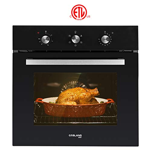 Electric Single Wall Oven, GASLAND Chef ES606MB 24' Built-in Electric Ovens, 240V 2000W 2.3Cu.f 6 Cooking Functions Wall Oven, Mechanical Knobs Control, Black Glass Finish