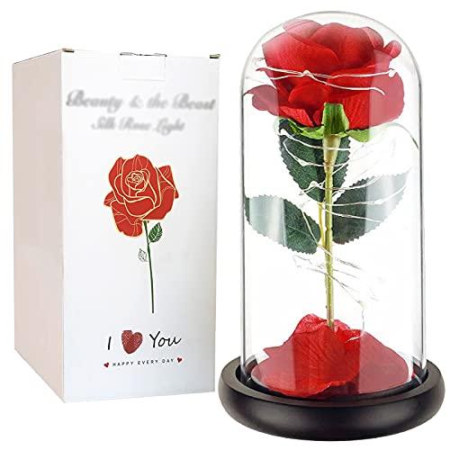 MIAE Flor Artificial Rosa con Pétalos En Cúpula De Vidrio, Rosa Falsa Dura para Siempre con Cadena De Luces LED, Regalo para Ella, Lámparas De Amigos, Decoraciones Navideñas De Aniversario