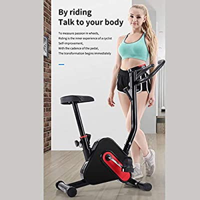 MXXJJ Foldable Upright Exercise Bike, Light Indoor Recumbent Exercise Bicycle, Magnetic Stationary Upright Bike Perfect for men women Home Cardio Workout & Strength Training, Max Load 260LBS (Black)