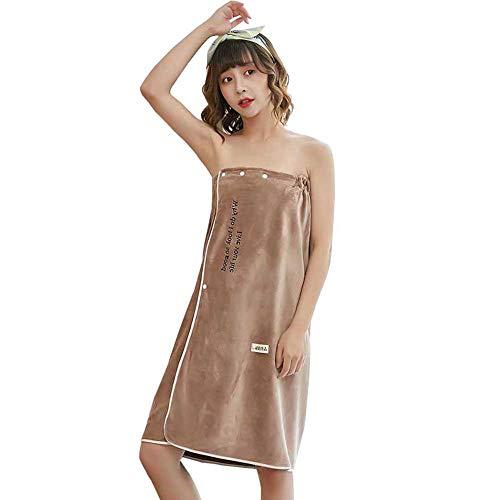 Semaxy ラップタオル 着るバスタオル 大人用 マイクロファイバー 可愛い ボデイタオル お風呂上がり 速乾 吸水 ずり落ちない 便利 プール 温泉 ジム エステ 80Cm*135Cm (コーヒー)