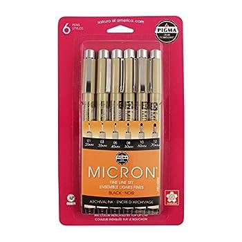 SAKURA Pigma Micron Black Ink Multi-tip Set 6 Pack