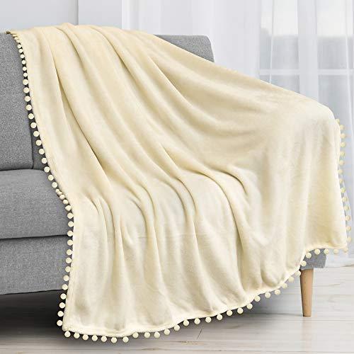 PAVILIA Pom Pom Blanket Throw Twin, Beige Ivory Cream | Soft Fleece Pompom Fringe Blanket for Couch Bed Sofa | Decorative Cozy Plush Warm Flannel Velvet Tassel Throw Blanket, 60x80
