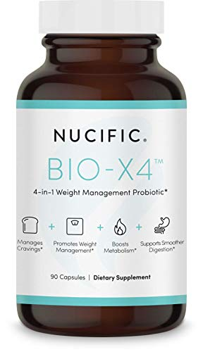 Nucific® Bio-X4 4-in-1 Weight Management Probiotic Supplement, 90 Count.