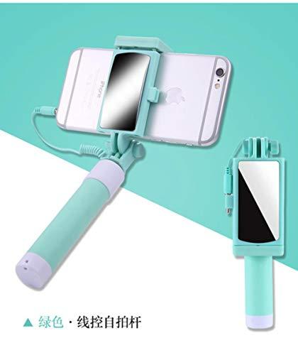 Monopiede Estensibile Mini Selfie Stick Button Wired in Silicone con Manico in Silicone per iPhone Samsung Huawei per Xiaomi Android Selfie Stick, Verde