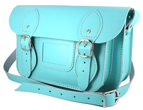 100% Genuine Leather Satchel for Women - Handmade in Spain - Cross Body Bag - TiffanyBlue (compact size) - leather satchel 9.5 inch