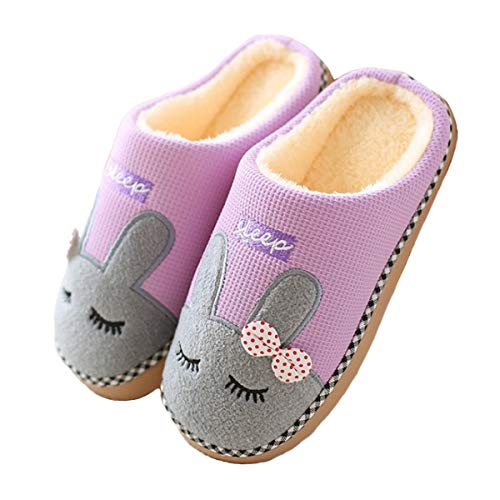 UPhitnis Winter Kuschelige Baumwolle Pantoffeln für Damen Herren | Plüsch Warme Weiche Hausschuhe mit Cartoon-Muster | Indoor Schuhe Cosy Rutschfeste Slippers, Violett-02, 38/39 EU