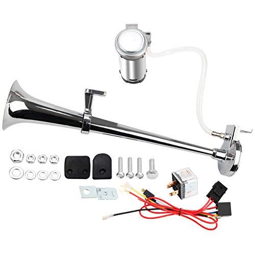 Pindex 12 V 130 db solo trompeta camión bocina de aire con compresor super fuerte para camión camión barco SUV plata