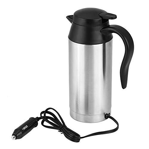 12 V Elektrischer Wasserkocher 750 ml Auto Wasserkessel Edelstahl Kessel Reise Thermos Heizung Wasserflasche mit Zigarettenanzünder für Heißwasser, Kaffee, Tee