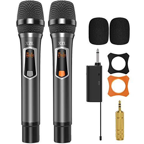 Wireless Microphone with Rechargeable, UHF Wireless Twin Handheld Dynamic Metal Mic System Set with Receiver, 6.35mm(1/4'') Plug, Carry Case, for Karaoke, Voice Amplifier, PA System, Wedding Church