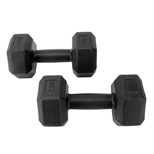 ABOOFAN 1 Set mit 2 Stück 5 kg sechseckige gummierte Hantel Herren Fitness Training Arm Muskel Hantel Hanteln Übung Fitness mit Stecker (schwarz)